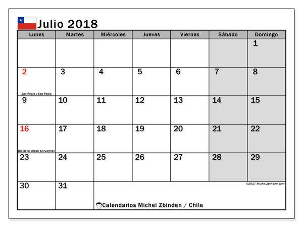 Calendario julio 2018, con los días feriados para Chile. Almanaque para imprimir gratis.