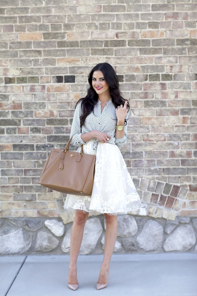 Top: Zara, old (loving this polka blouse) | Skirt: Anthropologie | Bag: Prada (similar) | Heels: Christian Louboutin (similar) | Watch: Michael Kors | Rings: KiraKira c/o, Byboe | Lips: YSL Rouge Volupte #11