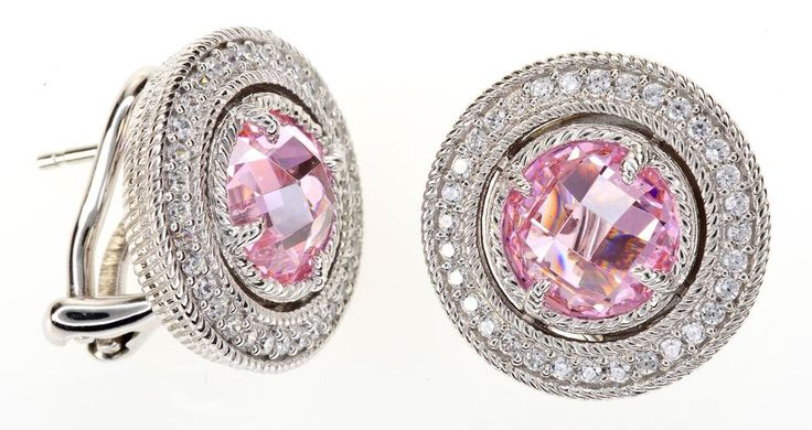 Judith Ripka Clear Pink Diamonique Button Sterling Silver Earrings  #JudithRipka #Button