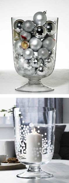 Need an easy centerpiece idea? Try ornaments or a candle inside a glass vase!