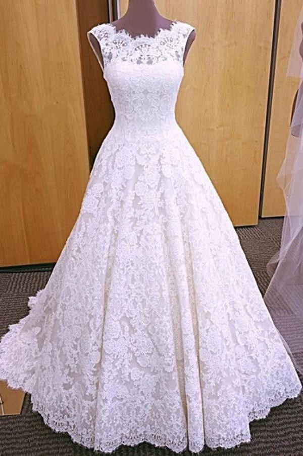 Elegant Lace Bridal Dress White Long Backless Lace Wedding Dress