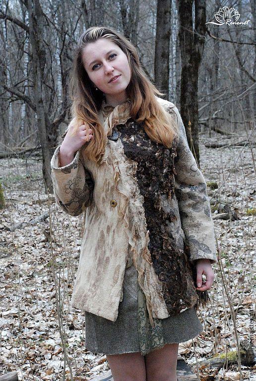 Верхняя одежда ручной работы. Заказать Валяное пальто из коллекции «Две сестры». Renenet. Ярмарка Мастеров. Куртка женская, лен