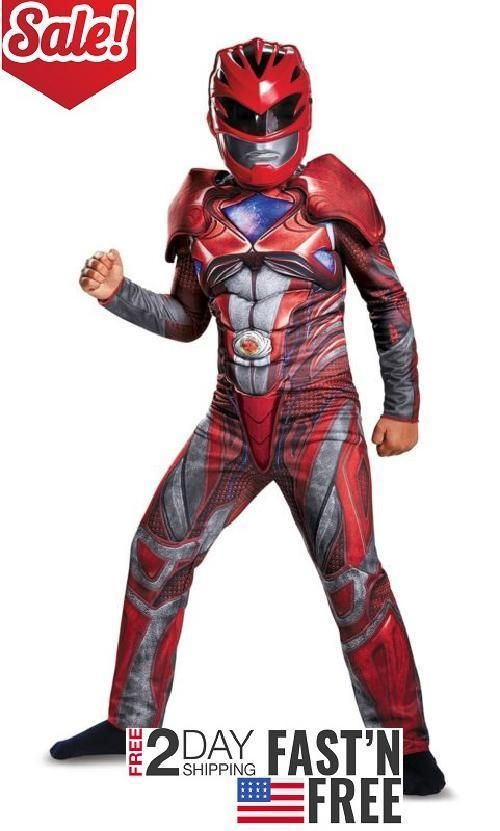 Child Costume Power Rangers Red Ranger Classic Muscle Boy Outfit Kids Large 10-1 #Disguise