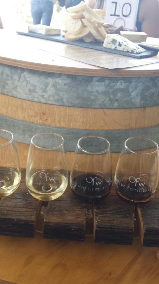Wines from Olive Farm Wines matched to corresponding cheese (L-R) Olivine Brut, Shimmer Sparkling, 2008 Cab Sav, Liqueur Verdelho