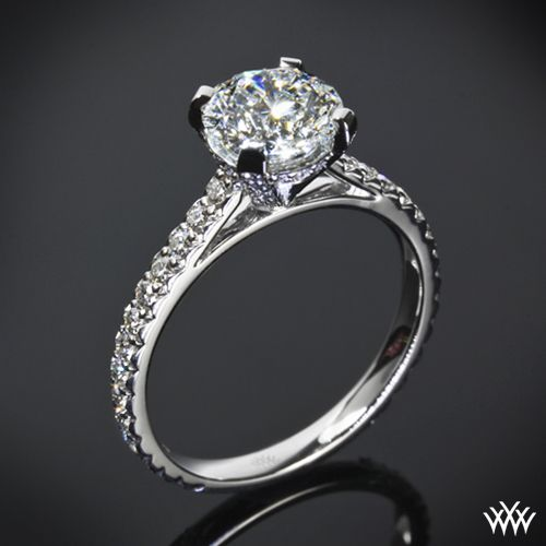 "#Whiteflash #Verragio From the Greek word meaning ""Splendor of the Sun"" we introduce the gorgeous ""Elena"" Diamond Engagement Ring. Adorned with approximately 56"
