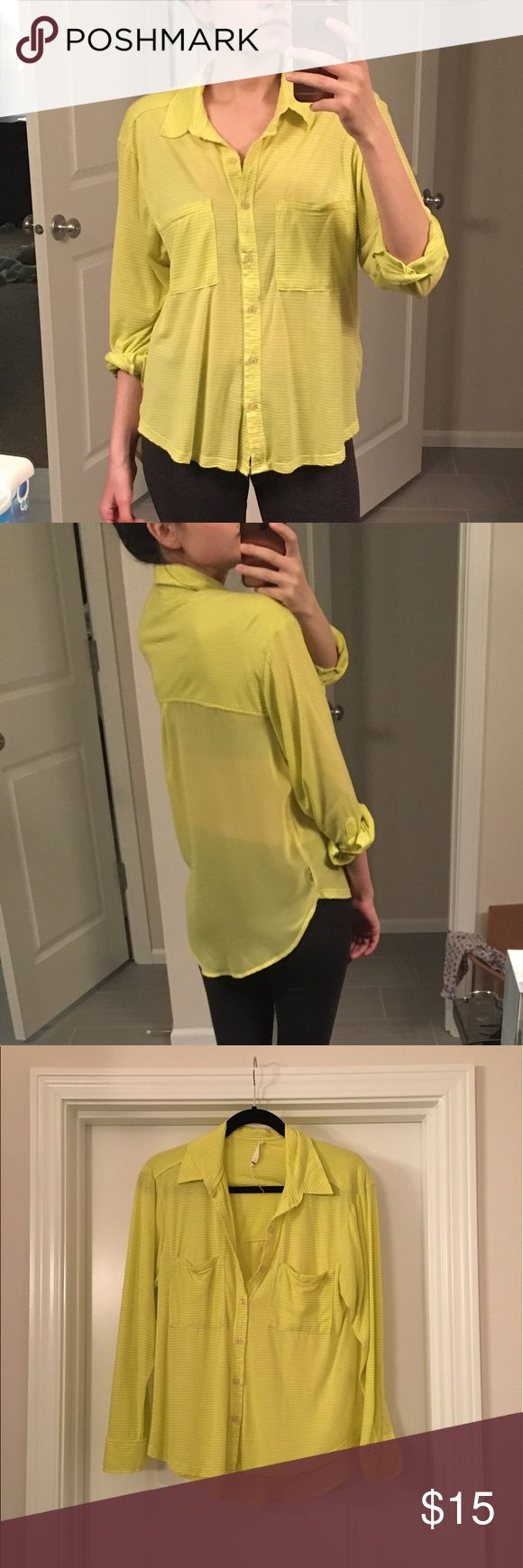 Willow and clay neon yellow top size XS willow and clay topic neon yellow. Very light. Perfect for spring/summer. Back is sheer. Willow & Clay Tops Button Down Shirts