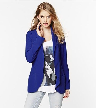 Dress up your look with this soft monaco blue blazer, one of the hottest spring shades!