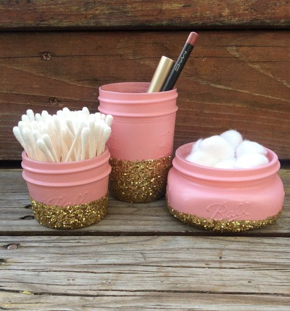 Glitter Mason Jar Bathroom Set- Perfect for Makeup Brushes, Toothbrush, Cotton Ball & Q Tip Holder, Gold or Silver Glitter, Sparkly Glam Set