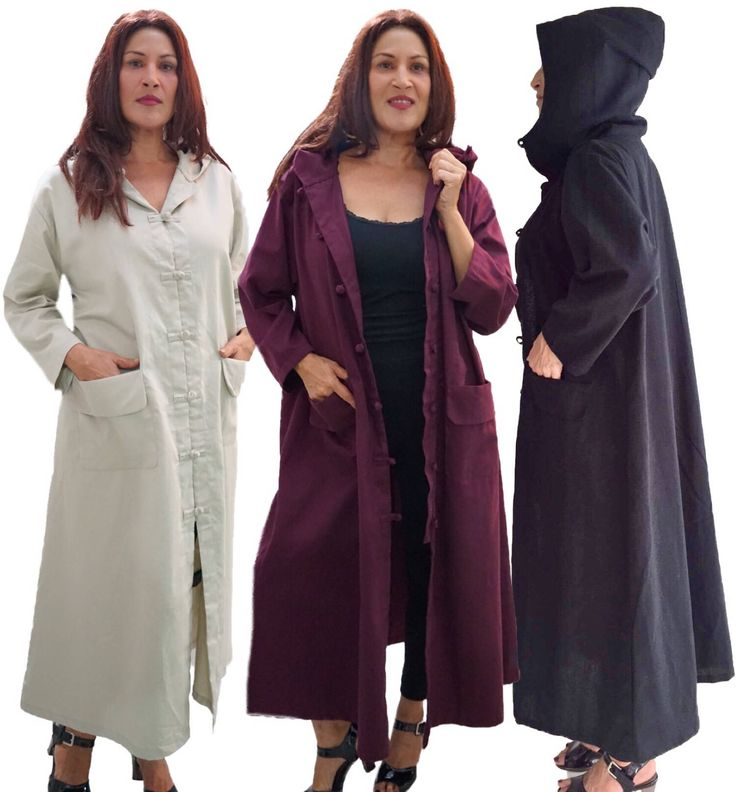17%OFF SALE X697 Coat Jacket Duster Dress Long Pockerts Cotton Linen LotusTraders Made To Order s m l xl 1x 2x 3x 4x 5x 6x Choose Your Color - $54.77 USD