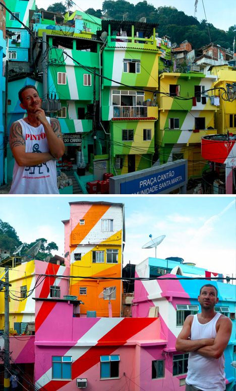 In Brazil, Artists Plan To Brighten Up A Shanty Town With Colorful Murals For artists Haas and Hahn, the shanty towns—or favelas—of Rio de Janeiro have inspired them to create their murals.