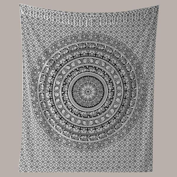 Black and White Elephant Hippie Twin Mandala Tapestry