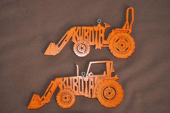 Kubota 2 ferme tracteur jouet en bois Orange ornement par Puzzimals