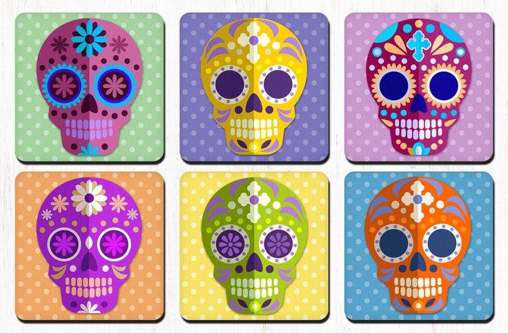 Colorful Sugar Skull Coasters, Colorful Skulls, Day of the Dead, Calacas, Calaveras, Dia de los Muertos, Drink Coasters, Decorative Coasters by RegalosOnline on Etsy