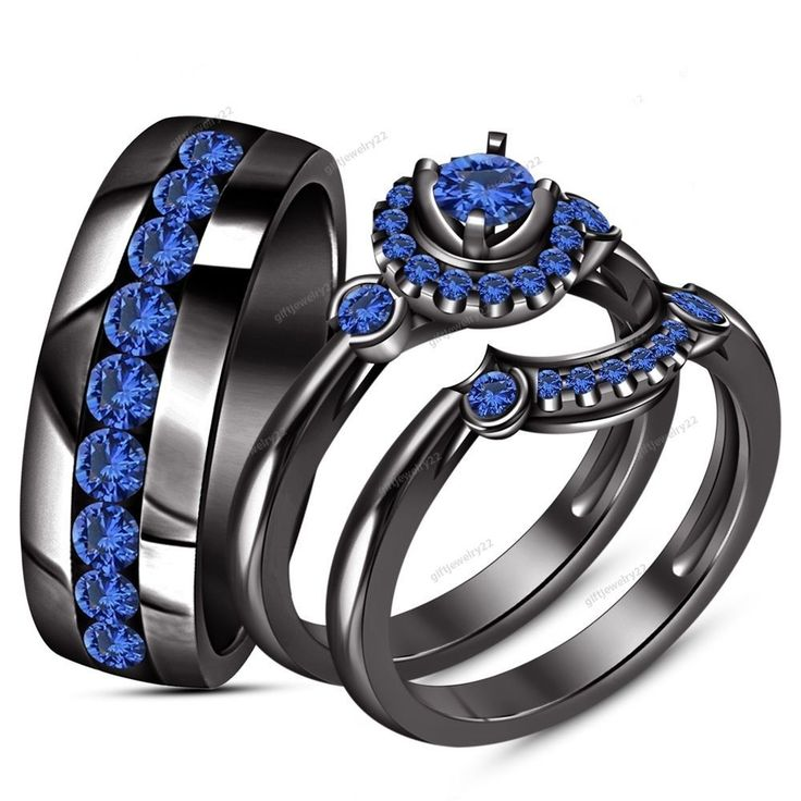 Round Cut Blue Sapphire  14K Black Gold Over  Engagement Wedding  Trio Ring Set #giftjewelry22