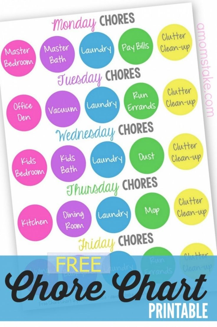 Weekly chore chart - free printable planner to keep you on task! Add it to your home management binder or frame it and easily check off your family responsibilities, a great chart for adults! Includes a pre-filled and blank chart.