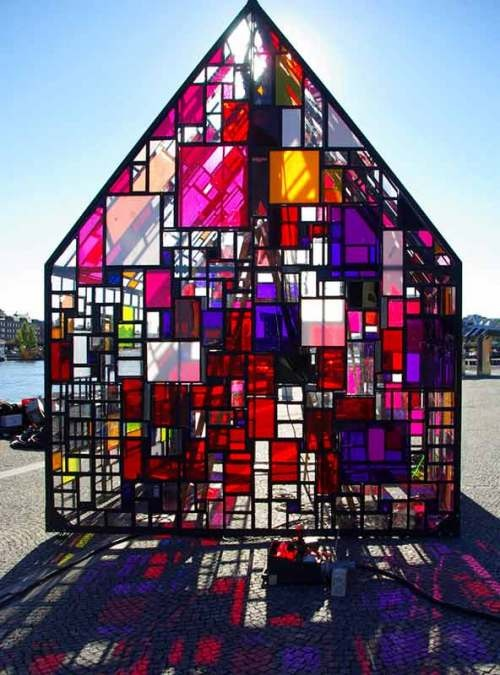 Tom Fruin's house made out of reclaimed plexiglass: Tom Fruin, Stainedglass, Art, Greenhouses, Green House, Glass Houses, Glasses House, Colors Glasses, Stained Glasses