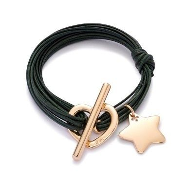 Star and heart bracelet on green strings 77£ #lilou #bracelet #star #green #goldplated # present #christmas