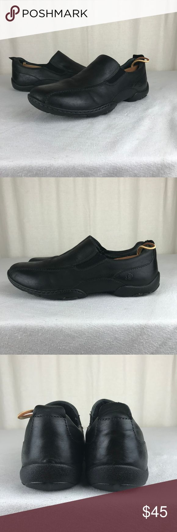 Born Mens 11 45 Black Alpert Loafer Slip On Shoes Product Description  A versatile slip-on casual with gored construction for an easy, flexible fit.  Full-grain or burnished full-grain leather  Leather lining  Dryz® moisture-managing footbed  Rubber outsole  Steel shank  Opanka hand-crafted construction Born Shoes Loafers & Slip-Ons
