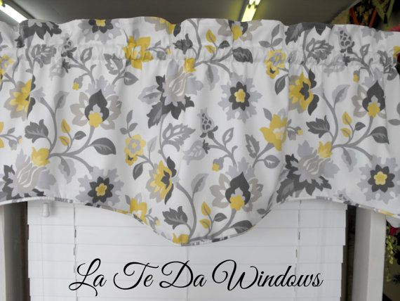 Valance Gray yellow  charcoal gray mocha almost by LaTeDaWindows, $39.00