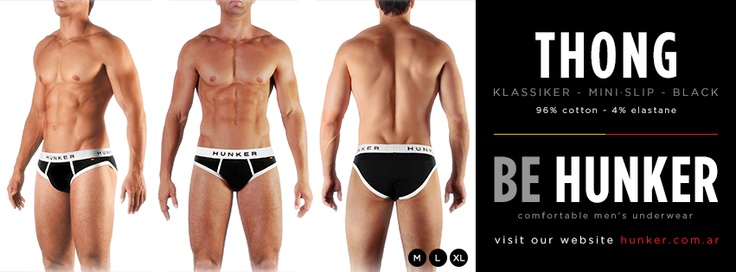 Thong (Mini Slip) Black, 96% Cotton - 4% Elastane. SHOP ONLINE (we ship worldwide) www.hunker.com.ar