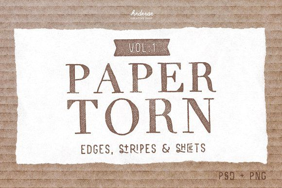 Paper Torn Vol.1 (PSD+PNG) by Hederae Type Foundry on @creativemarket
