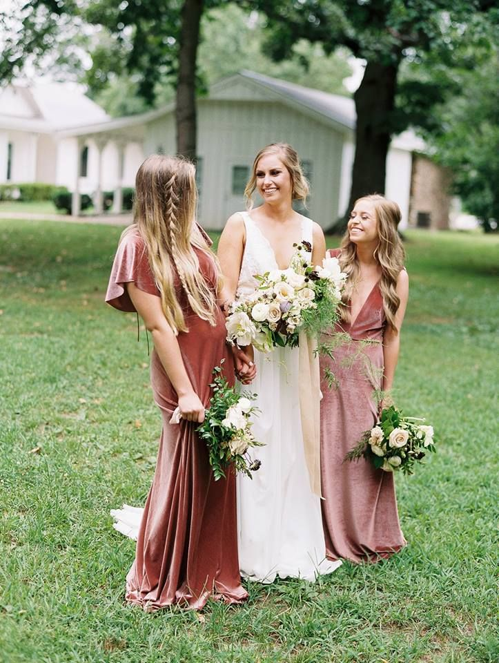 Gorgeous mix and match velvet bridesmaid dresses from Jenny Yoo at Bella Bridesm…