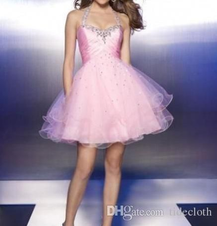 High Quality 2015 Custom Made Prom Princess Ball Gown Sleeveless Backless Halter Sweetheart Lace Up Short Organza Crysta Sequinl Prom Dress Prom 2015 Dresses Prom Dresses Australia From Tidecloth, $82.73| Dhgate.Com