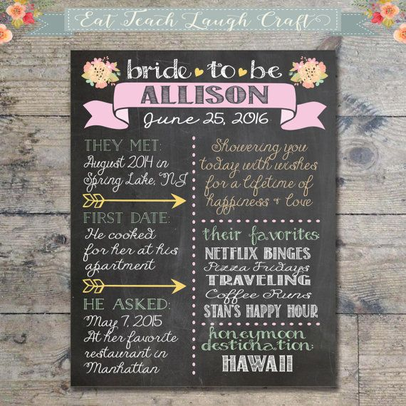 Personalized Chalkboard Style Bridal Shower Sign - Printable Digital File (No actual print will be shipped)  This custom chalkboard print is the perfect way to honor the bride to be at her bridal shower! It can be framed or mounted on foam board to be used as a beautiful photo prop or just for display. HOW TO ORDER: Please copy and paste the following stats into the Notes to EatTeachLaughCraft section when ordering and fill out accordingly. Please keep info brief so it fits on the board :)…
