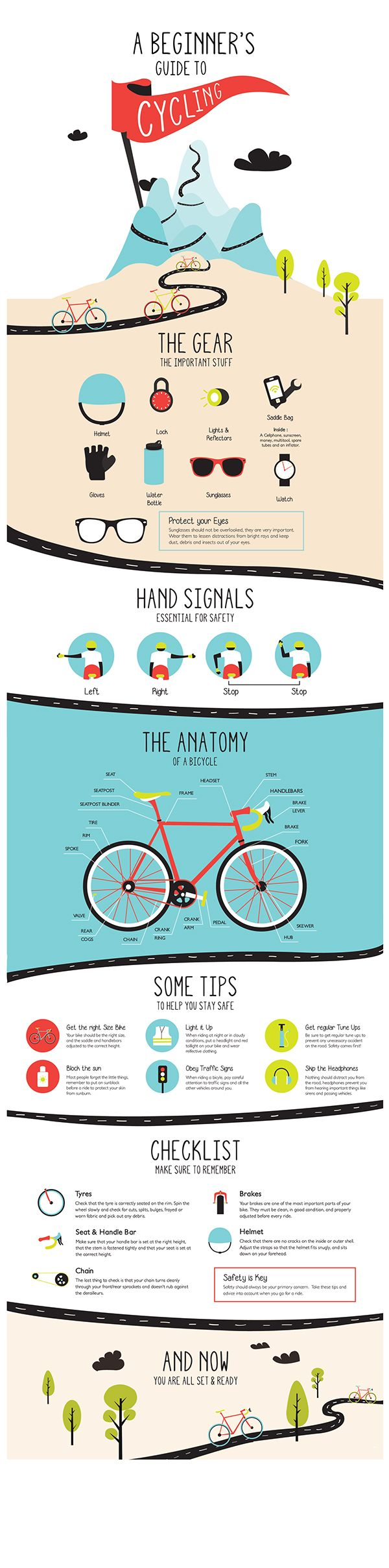 A beginner's guide to cycling is an infographic which aims to educate people who want to take up cycling, but don't have all the know how just yet.  It touches on the basics, like the gear, the road signs, safety tips and the bicycle anatomy.
