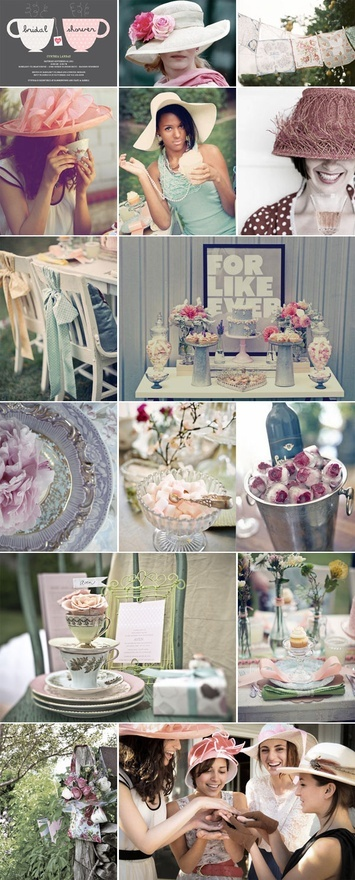Bridal shower theme!!  Vintage tea party/brunch with big fancy hats!! I like how the bows are Towson chairs