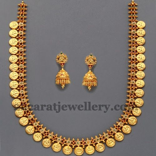 Jewellery Designs: Lakshmi Kasu Mala with Uncuts