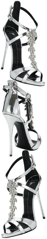 Giuseppe Zanotti Crystal-Leaf Metallic Leather Sandals