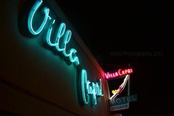 Vintage Neon Sign Photography Villa Capri Motel by WEPhotography