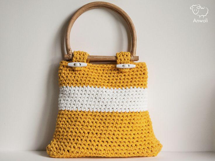 gehäkelte Handtasche gelb weiß gefüttert von Anwoli auf DaWanda.com