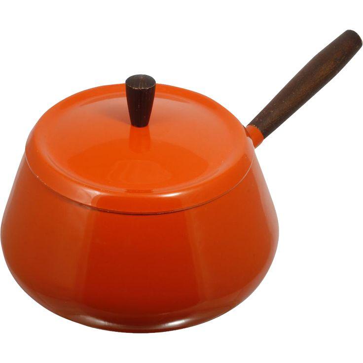 Mid century Modern Enameled Saucepan Fondue Pot Flame Orange Aluminum Wood -- found at www.rubylane.com @rubylanecom #VintageBeginsHere