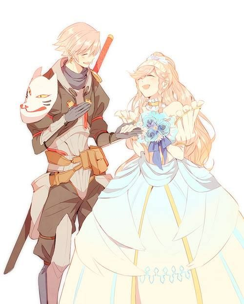 Fire Emblem Awakening - Inigo and Olivia. Theatre troupe? Wedding? I'm a bit confused by their clothes, but whatever. It looks nice :3