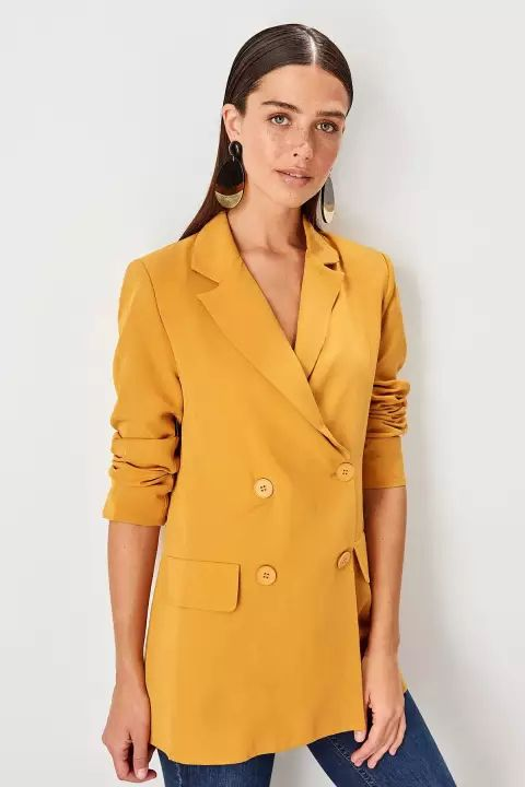 dab92075599cc ALL 2,482 50% Off | Trendyol Mustard Button Detail Ceket ...