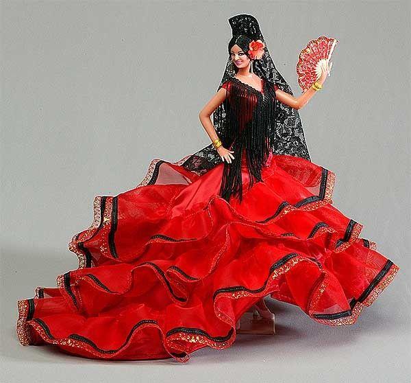 Poupée - costume folklorique - Espagne (Poupées + Tout en rouge)