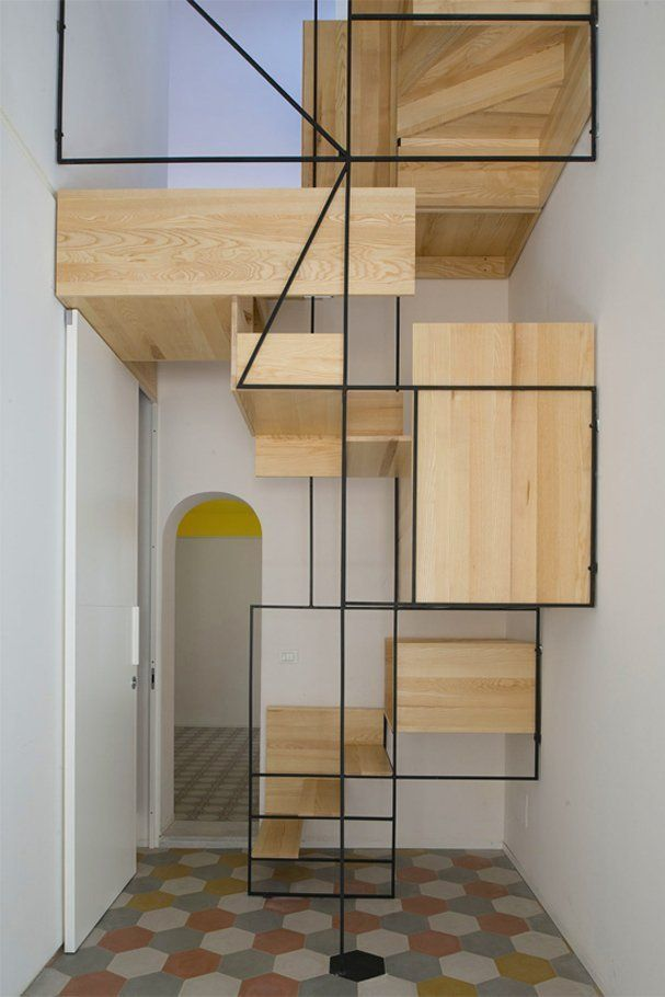 Let's talk about stairs. Besides providing a convenient way to move vertically through one's house, they can also provide a really lovely, sculptural element to a design. Sometimes designers take liberties with stairs in ways that make them especially beautiful — and especially terrifying. This post is a celebration of those scary stairs. Take a gander at these 12 envelope-pushing designs, and don't forget to watch your step.