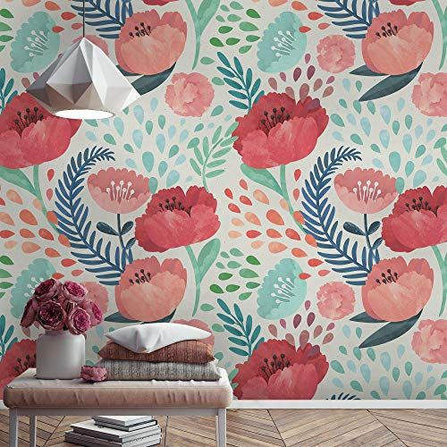 Amazon Com Murwall Floral Wallpaper Watercolor Poppy Flower Wall Mural Corn Poppy Floral Wallpaper Twigs W In 2020 Floral Wallpaper Mural Wallpaper Watercolor Poppies
