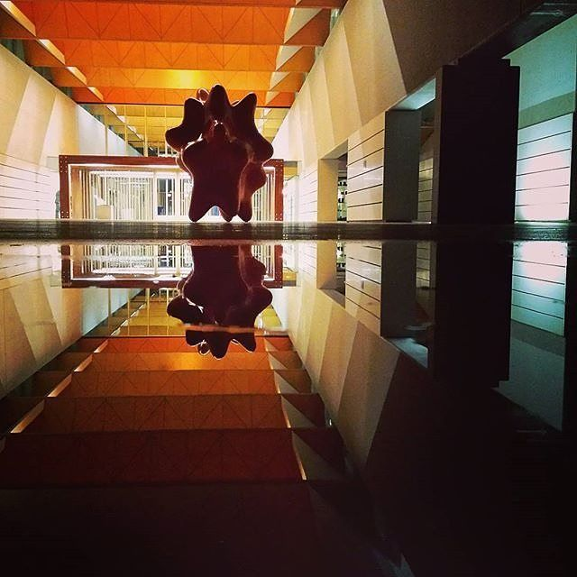 """""""Reflections at the @NPG_canberra"""" by Instagrammer @techosapien. Despite the apparent simplicity of the plan, the National Portrait Gallery is a rich sequence of carefully proportioned spaces leading from the Entrance Court defined by the two large cantilever concrete blades on the eastern side of the building through the foyer to the gallery spaces. #visitcanberra"""