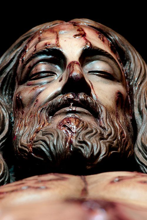Depiction of Jesus' face that appears on the Shroud of Turin at the Expo Sábana Santa, Madrid