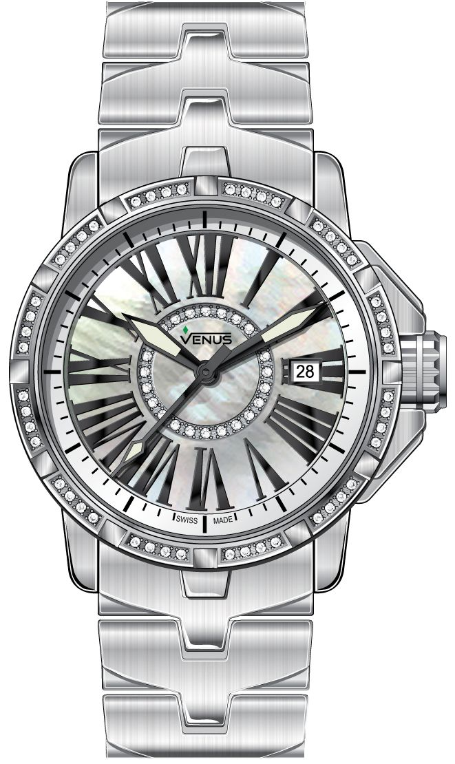 Time-date Quartz with 72 diamonds, white mother of pearl circle, Genesis collection, VENUS