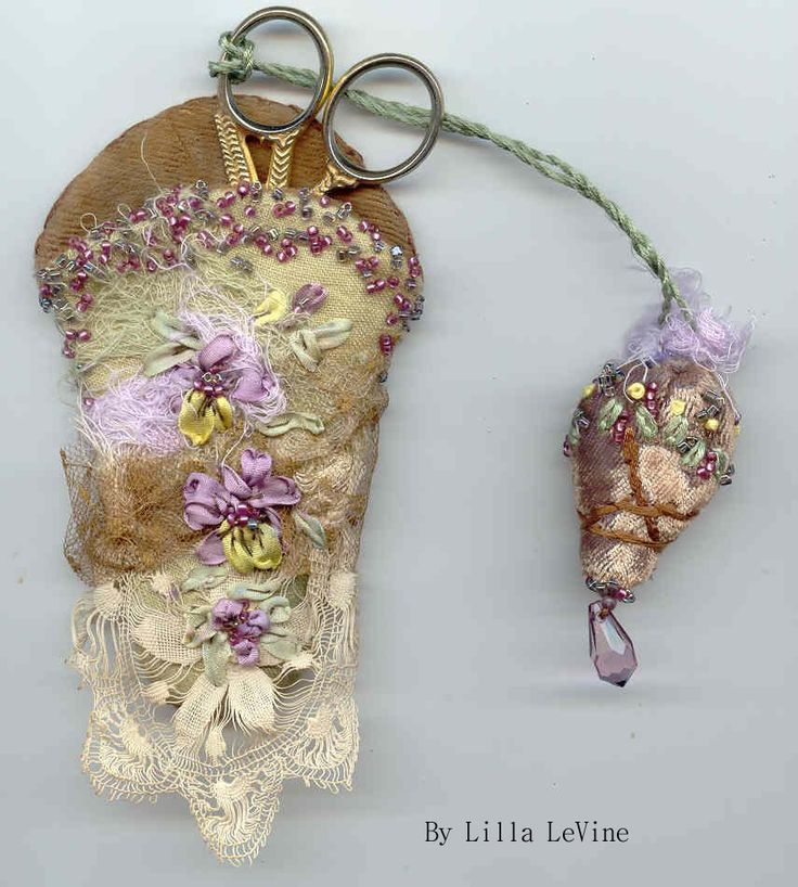 I ❤ ribbon embroidery . . . Scissors Case Recycled- Lilla LeVine