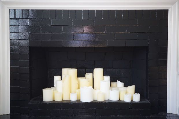 {Old pillar candles, new fireplace}
