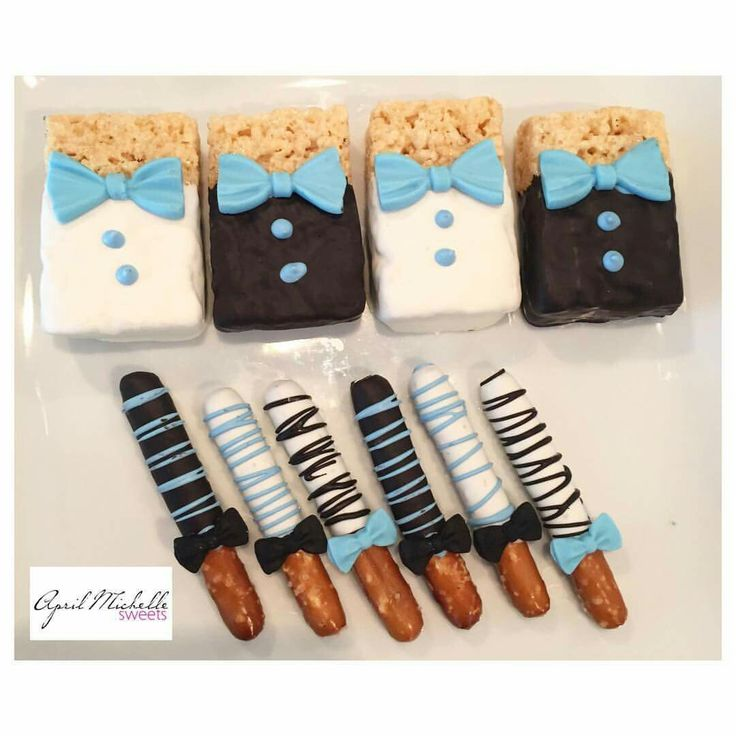 A little gentleman is on the way!!! Rice Krispies & Mini Pretzels • Bow Tie Themed Baby Shower • Boxed & Shipped to Indiana!!!