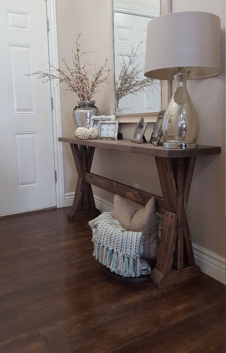 rustic farmhouse entryway table. Rustic farmhouse entryway table. If you like this pin, why not head on over to get similar inspiration and join our FREE home design resource library at www.FlorenceAndFreya.com?