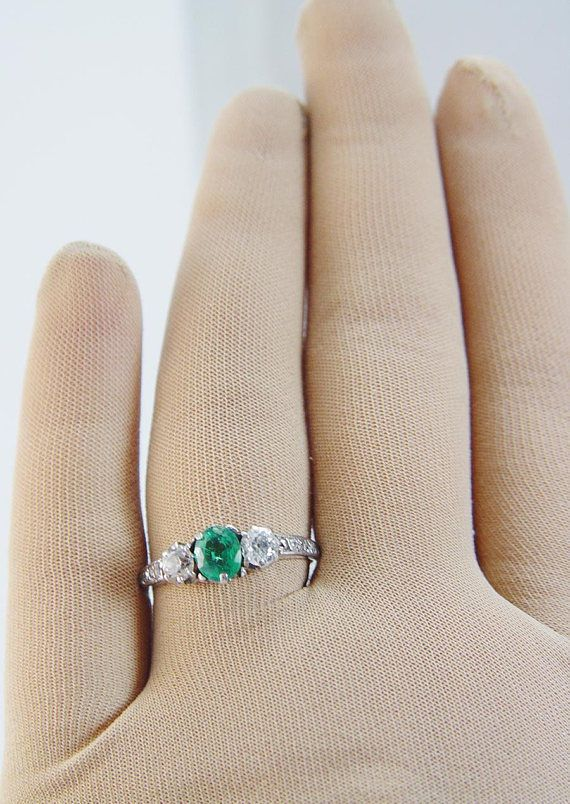 2604e6242 1.5Ct Round Halo Round Emerald Engagement Ring Set 14K White Gold Over  Solitaire #SarahDiamonds #SolitairewithAccents #Engagement