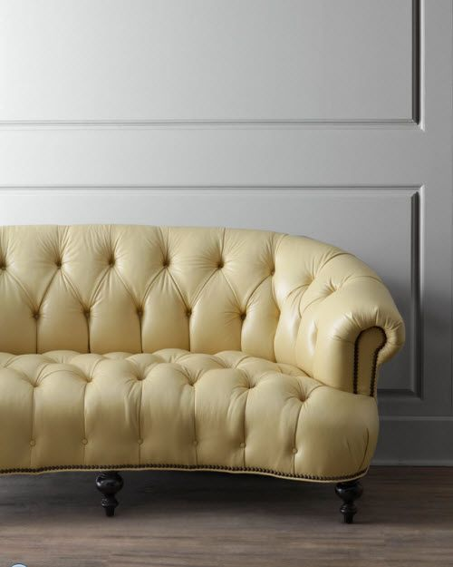 Yellow Leather Tufted Sofa Exotic Excess Old Hickory