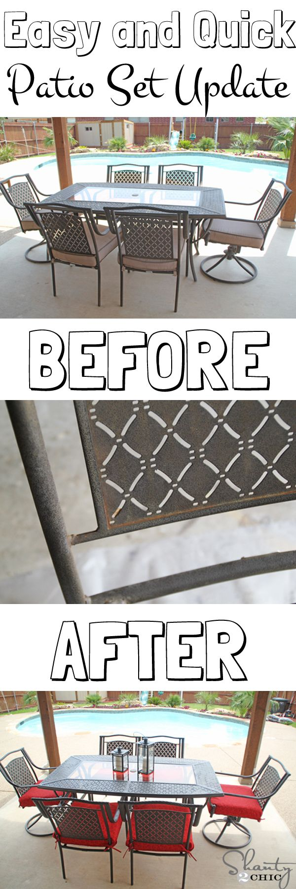 Don't get rid of your rusty patio set! This is a quick and easy tutorial that will make it look brand new!!!!